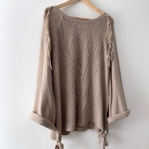 Fringe Cable Knit Pullover Sweater